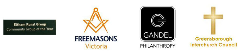 Sponsors - Eltham Rural Group, Freemasons Victoria, Gandel Phlanthropy, Greensborough Interchurch Council